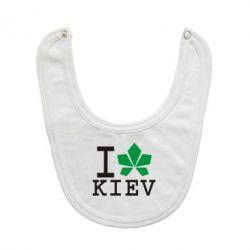 Слюнявчик  I love Kiev - с листиком