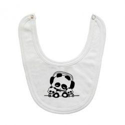 Слюнявчик  Панда в наушниках