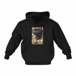 Детская толстовка Black pig and flowers