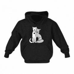 Детская толстовка Fox and cat heart