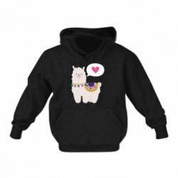 Детская толстовка Lama with pink heart