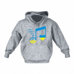 Детская толстовка Music, peace, love UA