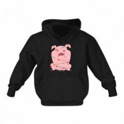 Дитяча толстовка Свиня обмотана гірляндою