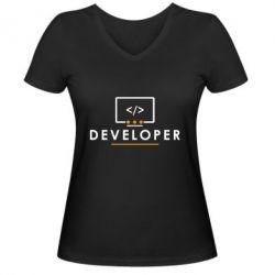 Женская футболка с V-образным вырезом Developer