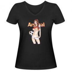 Женская футболка с V-образным вырезом Девушка Арсенал - FatLine