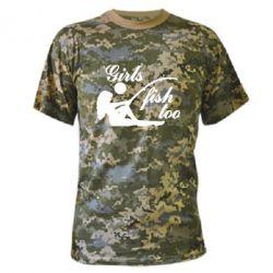 Камуфляжная футболка Девушки тоже рыбачат - FatLine