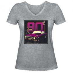 Женская футболка с V-образным вырезом Девяностые