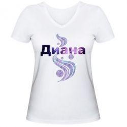 Женская футболка с V-образным вырезом Диана