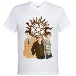 Мужская футболка  с V-образным вырезом Дин, Сэм и Кас - FatLine