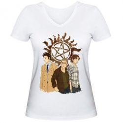 Женская футболка с V-образным вырезом Дин, Сэм и Кас - FatLine
