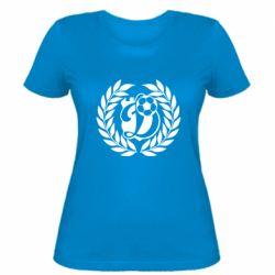 Женская футболка Динамо Киев: мяч, колоски лого