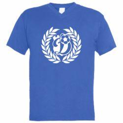 Мужская футболка  с V-образным вырезом Динамо Киев: мяч, колоски лого