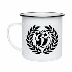 Кружка эмалированная Динамо Киев: мяч, колоски лого