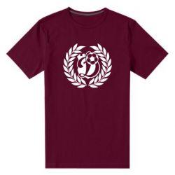 Мужская стрейчевая футболка Динамо Киев: мяч, колоски лого