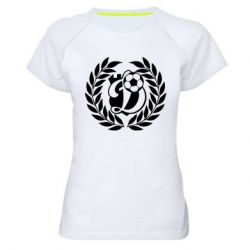 Женская спортивная футболка Динамо Киев: мяч, колоски лого