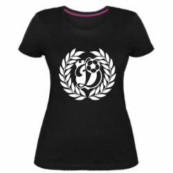 Женская стрейчевая футболка Динамо Киев: мяч, колоски лого