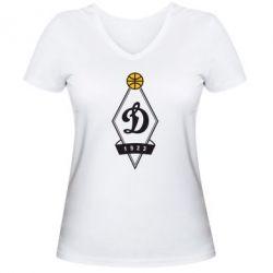 Женская футболка с V-образным вырезом Динамо - FatLine