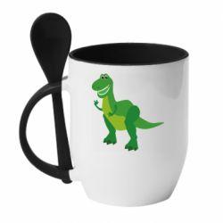 Кружка с керамической ложкой Dino toy story