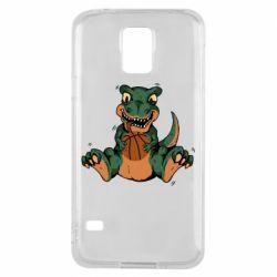 Чехол для Samsung S5 Dinosaur and basketball