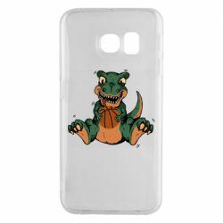 Чехол для Samsung S6 EDGE Dinosaur and basketball