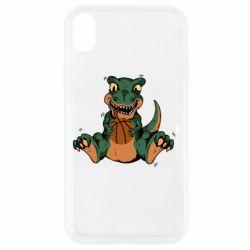 Чехол для iPhone XR Dinosaur and basketball