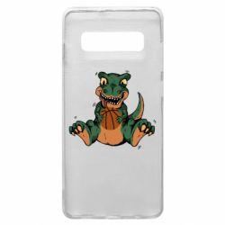 Чехол для Samsung S10+ Dinosaur and basketball