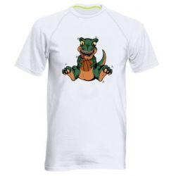 Мужская спортивная футболка Dinosaur and basketball