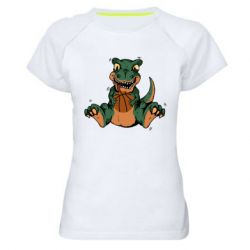 Женская спортивная футболка Dinosaur and basketball