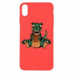Чехол для iPhone X/Xs Dinosaur and basketball