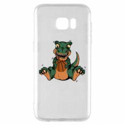 Чехол для Samsung S7 EDGE Dinosaur and basketball