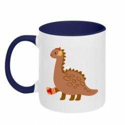 Кружка двухцветная 320ml Dinosaur in sock