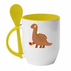 Кружка с керамической ложкой Dinosaur in sock