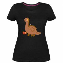 Женская стрейчевая футболка Dinosaur in sock