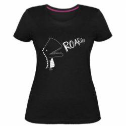 Жіноча стрейчева футболка Dinosaur roar