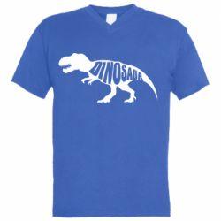 Мужская футболка  с V-образным вырезом Dinosaur text