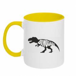 Кружка двухцветная 320ml Dinosaur text