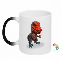 Кружка-хамелеон Dinosaur with coffee