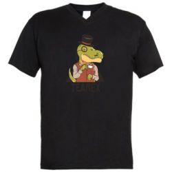 Чоловіча футболка з V-подібним вирізом Dinosaur with tea
