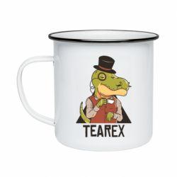Кружка емальована Dinosaur with tea