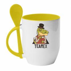 Кружка з керамічною ложкою Dinosaur with tea
