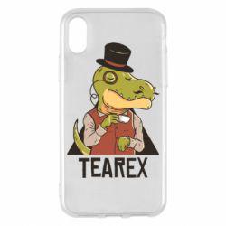 Чохол для iPhone X/Xs Dinosaur with tea