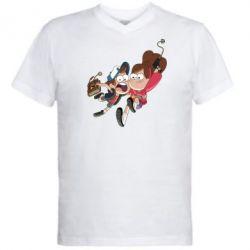 Мужская футболка  с V-образным вырезом Диппер и Мэйбл - FatLine