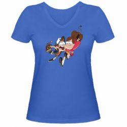Женская футболка с V-образным вырезом Диппер и Мэйбл - FatLine