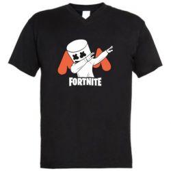 Мужская футболка  с V-образным вырезом Dj Marshmello fortnite dab - FatLine