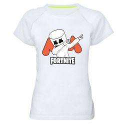 Женская спортивная футболка Dj Marshmello fortnite dab - FatLine