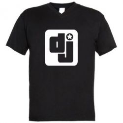 Мужская футболка  с V-образным вырезом DJ star - FatLine