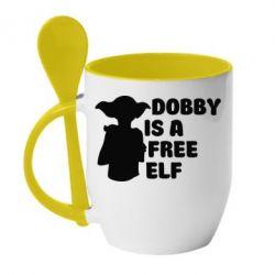 Купить Кружка с керамической ложкой Dobby is a free elf, FatLine