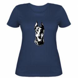 Женская футболка Доберман черный