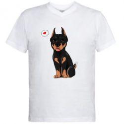 Купить Мужская футболка с V-образным вырезом Doberman Puppy, FatLine