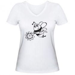 Женская футболка с V-образным вырезом Добрая пчелка - FatLine